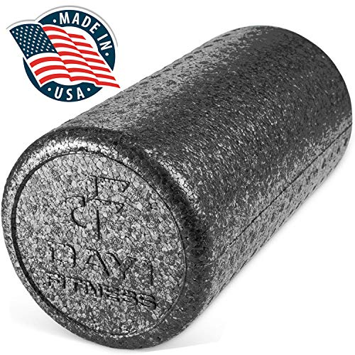 High Density Muscle Foam Rollers by Day 1 Fitness - Sports Massage Rollers for Stretching, Physical Therapy, Deep Tissue and Myofascial Release - Ideal for Exercise and Pain Relief - Black, 36'