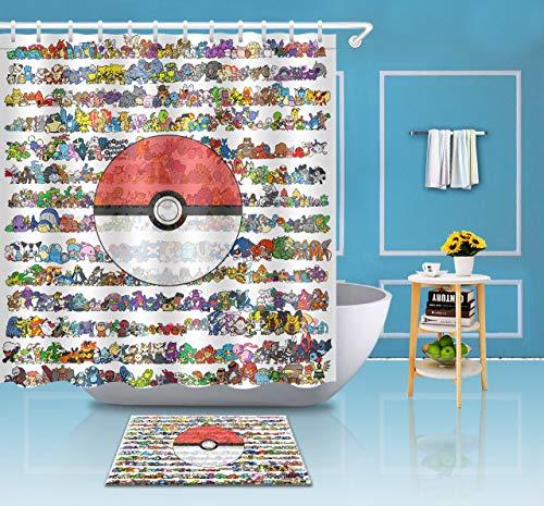 Aliyz Pokemon Set Home Hotel Dekoration Badezimmer Dekoration 12 Haken Polyester wasserdicht mehltau Stoff duschvorhang Vorhang 71x71 Zoll