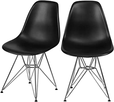 Set of 5 Contemporary Retro Style Multipurpose Side Chairs Durable Plastic Curve Back Design Solid Chrome Base Finish Restaurant School Home Office Furniture - Black/2293