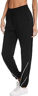 Vlazom 100% Algodón Pantalones de Jogging para Mujeres Pantalones Deportivos de Yoga Fitness Casual con Bolsillos y Cordón
