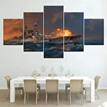 JCILZX Canvas Poster Modular Living Room Home Decor 5 Pieces World of Warships Paintings Wall Art Ship Game Abstract Pictures Framework