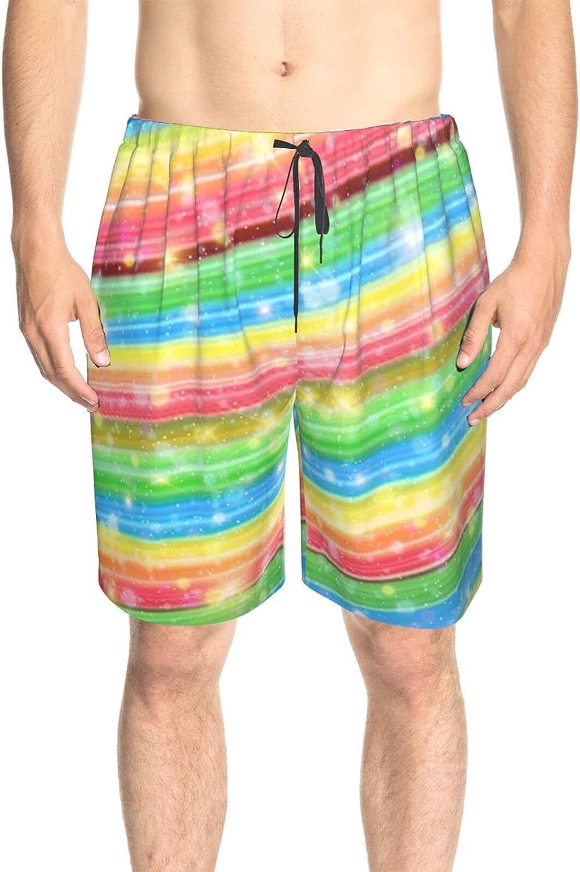 Mens Bathing Suits Rainbow Galaxy Glistening Beach Board Shorts Fast Dry Fashion Surf Beach Shorts with Liner