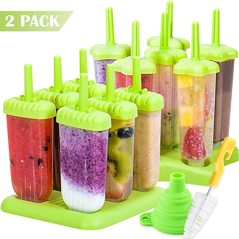 BAKHUK 2pcs Popsicle Mold Plastic Ice Pop Mold Maker With Silicone Funnel And Cleaning Brush Green