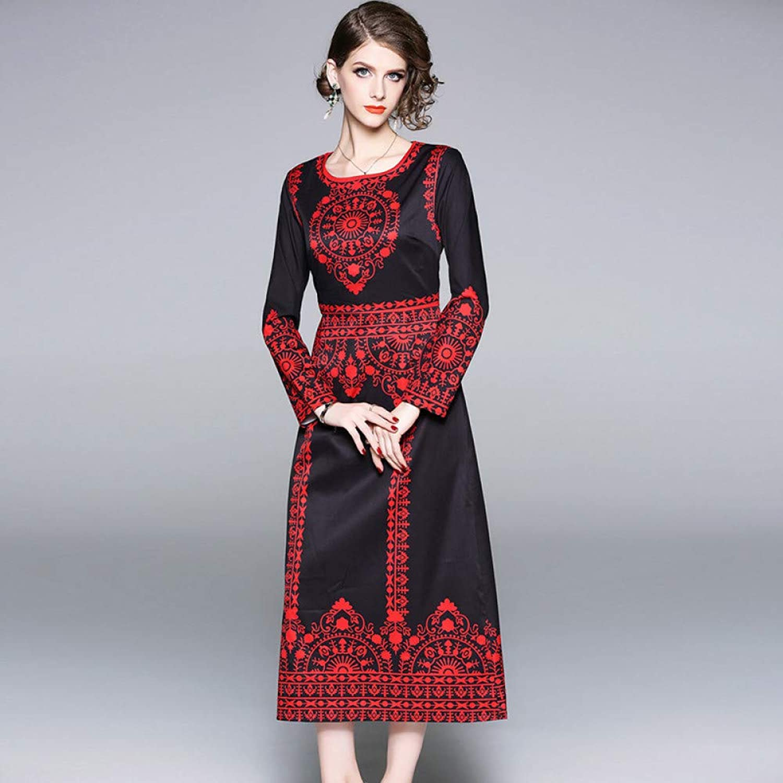 Cxlyq Dresses Autumn and Winter Dress Retro Fashion Print Long Sleeve Slim Slit Dress Dress
