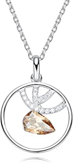 Crystal Necklace with Meaning Sterling Silver Plated Antlers Triangle Champagne Cz Circle Women Necklace Amazon