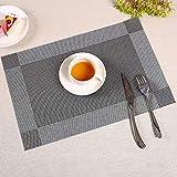 KAEHA SUN-056-09 4pcs Textura PVC Restaurante Cocina Aislamiento térmico Individuales, manteles, Negro
