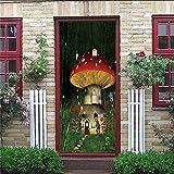 Pegatina Puerta 3D PVC Autoadhesivo Puerta Pegatina Para Mural DIY Impermeable De Hogar Arte Moderno Puerta Cocina SalóN Dormitorio Cuarto De BañO - Seta De Dibujos Animados 77x200cm