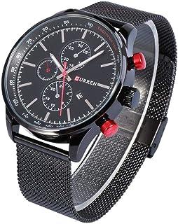 Yuanhua Quartz Watch 2 Types Male Analog Quartz Watch with Steel Strap Alloy Case Wristwatch