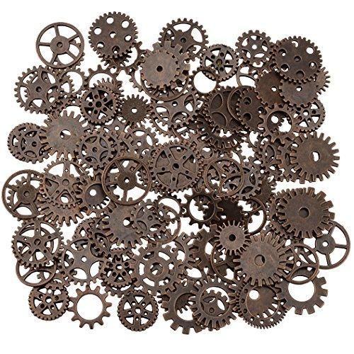 200 gramos surtidos de metal de bronce steampunk fabricación de joyas encantos Cog reloj rueda (200Gram, cobre)