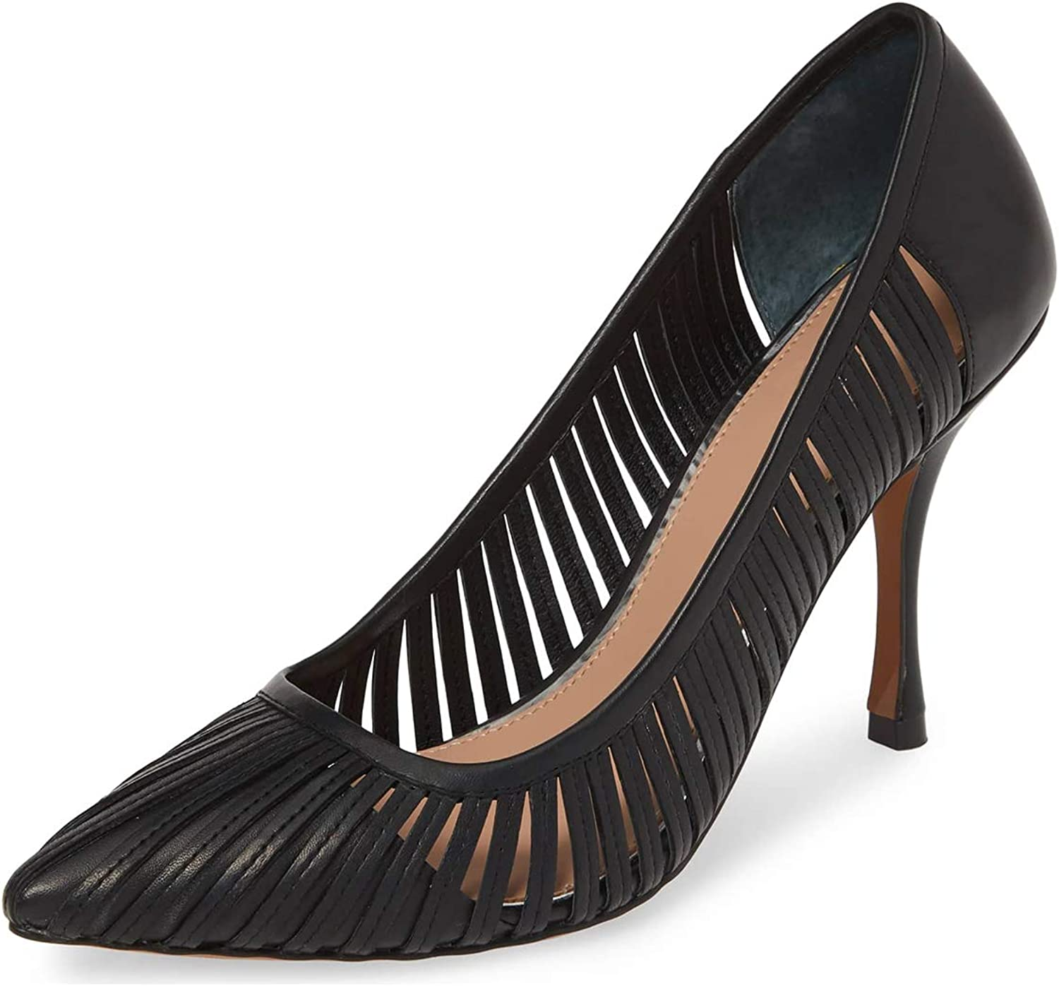 YDN Women Trendy Spike High Heel Hollow Out Pumps Pointy Toe Slip On Leather Evening Dress shoes
