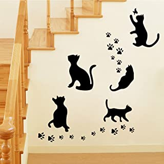BIBITIME Animal Silhouette 5 Black Pussycats Wall Decal Vinyl Butterfly Cat Paw Footprints Stickers for Living Room Porch Pet Lover Living Room Bedroom Nursery Kids Room Decor Home Art Murals