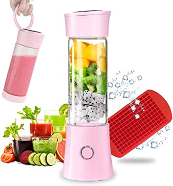 Portable Blender, Smoothie Blender with 16oz Travel Glass Cup and Lid 4000mAh Battery 7.4V Strong Power Personal Size Blender USB Rechargeable Mini Juicer Cup Travel Blender for Shakes and Smoothies with Stainless Steel 6 Blades BPA Free Pink