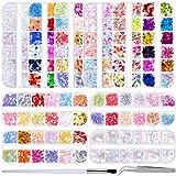 Duufin 10 Cajas Lentejuelas Uñas Mariposa Corazon Glitter Lentejuelas con Pinceles para Uñas y Pieza Pinza para Arte de Uñas