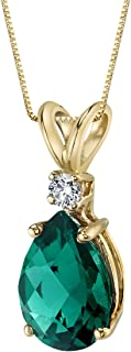14 Karat Yellow Gold Pear Shape 1.75 Carats Created Emerald Diamond Pendant
