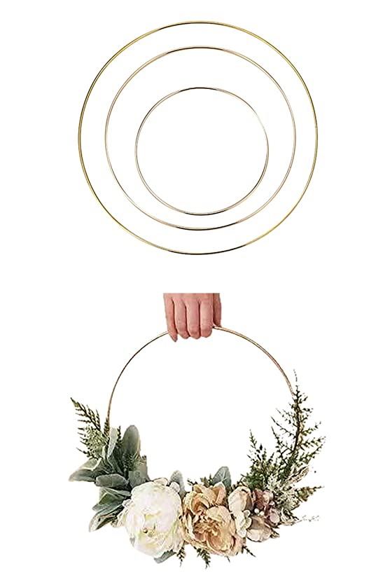 非難するスリット十分ではないLumierechat フープリース フープ リース 結婚式 フローラルフープリース フラフープ ゴールド ウェディング 装飾 飾りDIY a-b5125(ゴールド/直径25㎝)