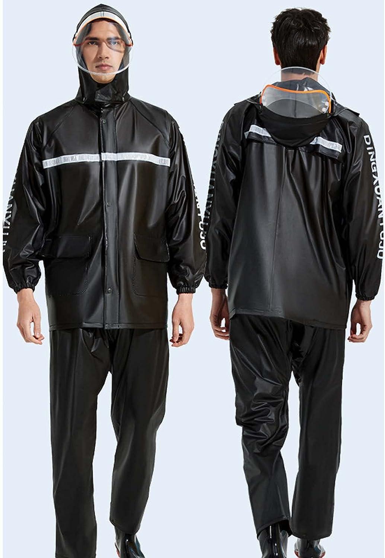 FHGH 2PCS Adult Split Raincoat, PVC Reflective Raincoat and Rain Pants Suit, Detachable Brim Design, for Fishing/Cycling,H,Medium