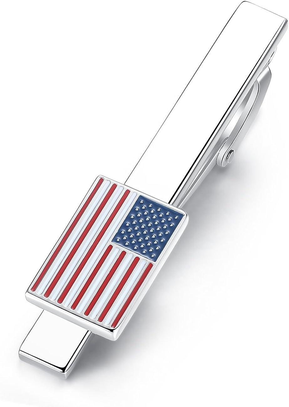 HONEY BEAR Men US Flag Tie Clip Bar Stars Stripes American Flag Wedding Gift 5.4cm