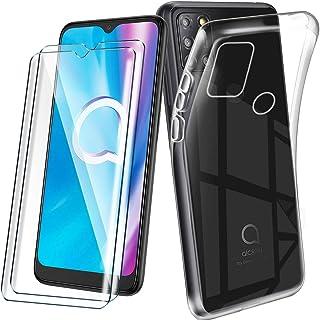 "HYMY fodral + 2x skärmskydd för Alcatel 3X 2020 (6.52"")- Transparent TPU Mjuk Silikon Protection Gel Fashion Skin back She..."