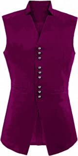 Anshirlisa Men's Gothic Steampunk Solid Color Waistcoat Casual Daily Wear Single Breasted Prom Dancing Vest