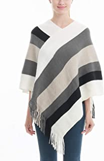 Women's Elegant Knitted Poncho Top with Stripe Patterns...