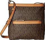 MICHAEL Michael Kors Women's Morgan Medium Messenger PVC Logo Brown Crossbody Bag