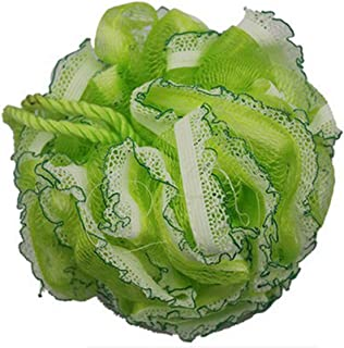 Flower Shape Bath and Shower Sponge Gentle Exfoliating Mesh Bath Sponge (Green)