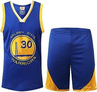 QZ Golden State Warriors Stephen Curry # 30 Jersey - Conjunto sin Mangas clásico, Baloncesto para Hombre y Camiseta Unisex con Traje de Baloncesto con Letras Cosidas y números Azules-S