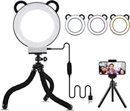 Lusweimi LED Ring Light 6 Inch with Tripod Stand for YouTube Video and Makeup, Mini LED Camera Light with Cell Phone Holder Desktop Lamp with 3 Light Modes and 11 Brightness Level (Black)