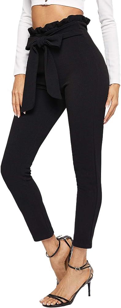 Soly hux,pantaloni da donna con elastico in vita,95% poliestere, 5% elastan 181108741-18-16-XS