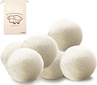 OrgaWise Wool Dryer Balls Set of 6 Pack 100% Organic Zealand Wool Dryer Balls Reusable Natural Fabric Softener Healthy Laundry Life Reduce Wrinkles & Static Cling, Shorten Drying Time(6Pack)