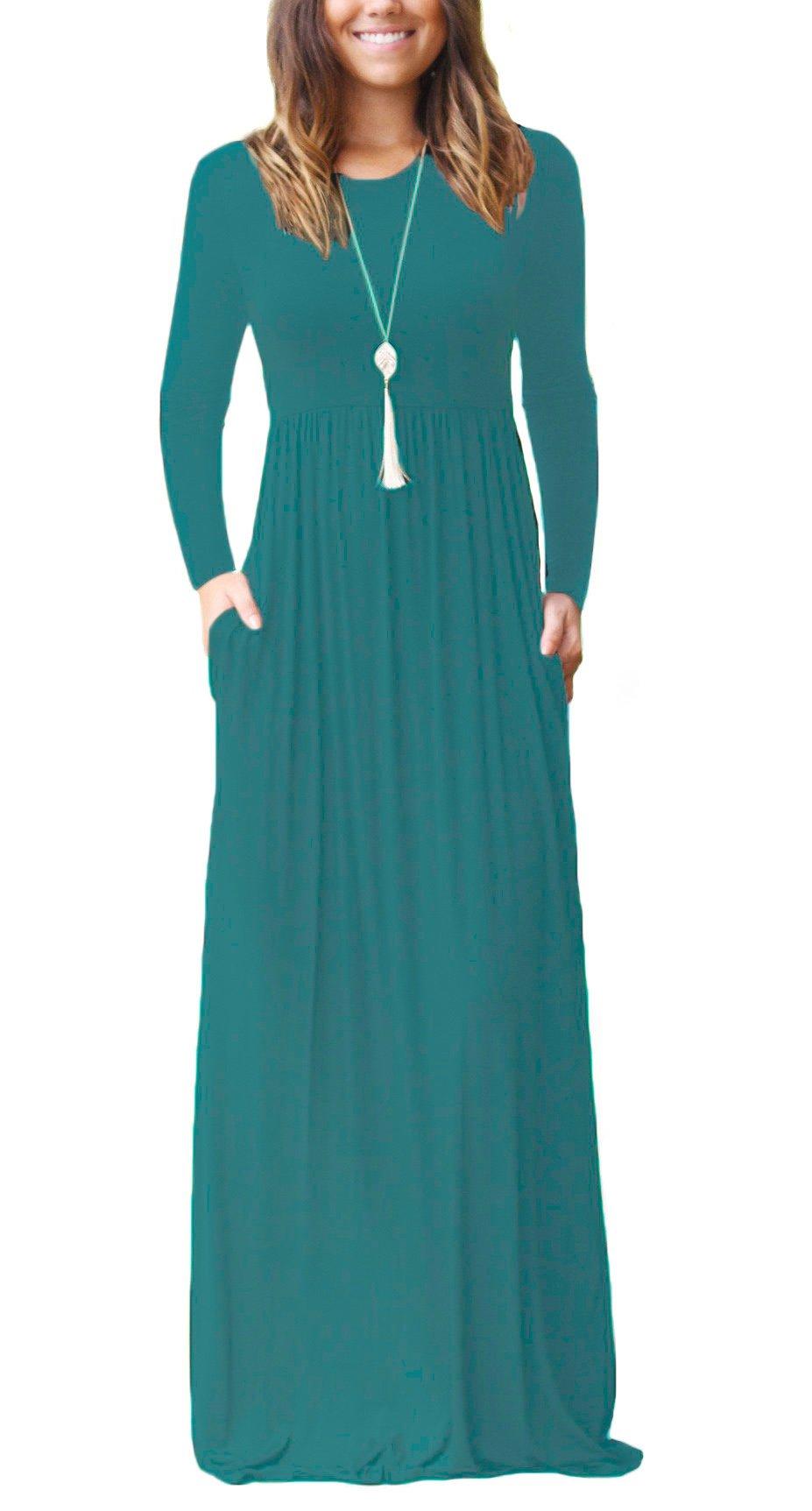 Available at Amazon: DEARCASE Women Long Sleeve Loose Plain Maxi Pockets Dresses Casual Long Dresses
