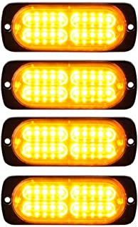 PESIC 4x Ultra Slim Amber 20-LED Side Strobe Warning Emergency Caution Construction Car Truck Van Light Bar