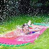 Vecksoy Tobogán acuático para niños, para jardín, 550 x 145 cm, doble tren, tobogán hinchable y deslizante, para niños, juguete de verano para jardín y césped