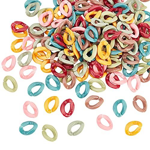 PandaHall 210 unids anillo acrílico cadena enlaces rápido enlace encerramiento cadena conectores 7 colores para joyería bolso bolso gafas llavero correa 22x16mm
