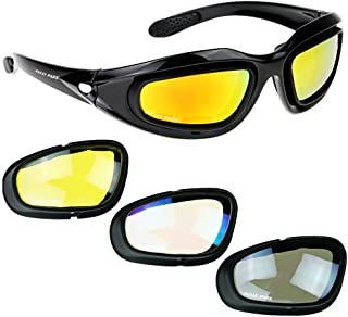 AULLY PARK Polarized Motorcycle Riding Glasses Black Frame with 4 Lens Kit for Outdoor..