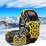 Kazeila - Catene da neve universali per auto, 6 pezzi, materiale TPU, antiscivolo, adatte per pneumatici di larghezza 165-285 mm (colore giallo)