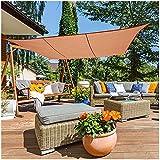 Amarillo Arena Color Velas De Sombra Neto De Tela Oxford Jardín Impermeables Marquesinas Sun-Protector Solar Al Aire Libre El 95% Protección UV Valla Sombreado Contacto Protección De (Size:3m x 5m)