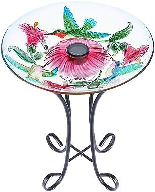 "MUMTOP Outdoor Glass Birdbath Solar Birdbaths with Metal Stand for Lawn Yard Garden Hummingbird Decor,18"" Dia21.65 Height"