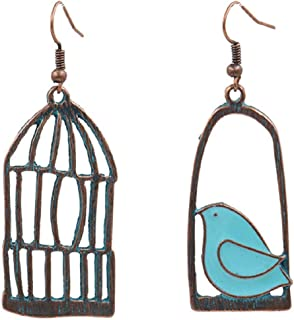 DMtse Creative Bird Cage Asymmetric Style Design Alloy Earrings Pendant Earrings
