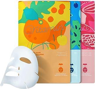 MINISO 3PCS Vitamin Facial Sheet Masks Hydrating Face Mask, Moisturizing Mask Sheet