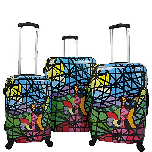 Chariot Stained Art 3-Piece Hardside Lightweight Spinner Luggage Set, Glass Cat, One Size