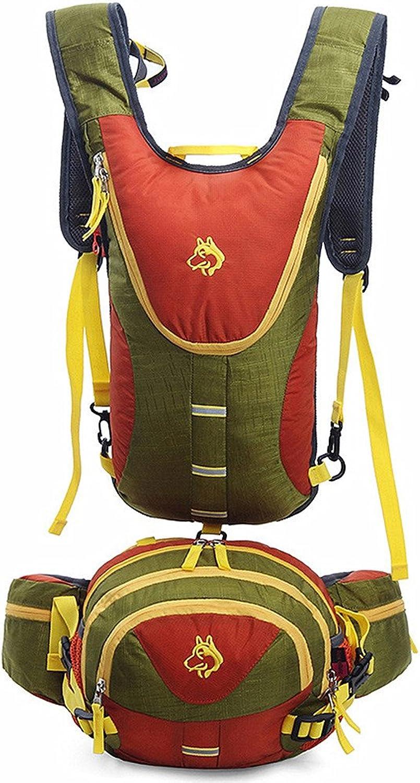 Backpacks Backpacks Purses Wild Camping Travel by Walking Leisure Sport Neutral Men and Women Suitable Waterproof Mountaineering Bag (color   Green+orange)