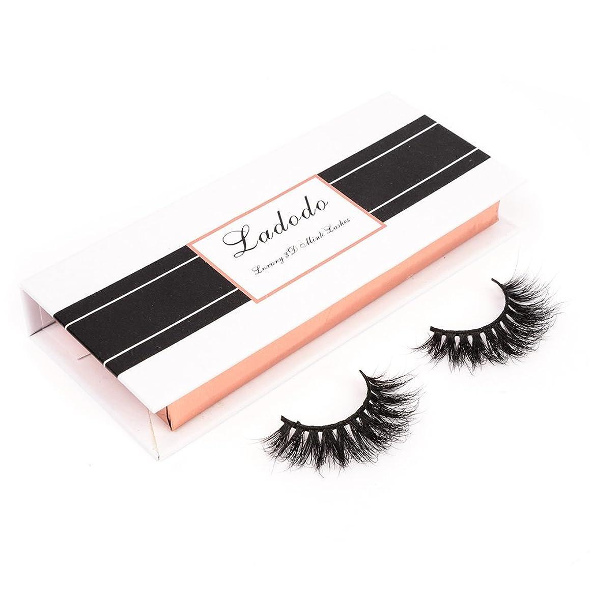 Ladodo 3D False luxury Eyelashes 100% Siberian Mink Fur Hand-Made Fake Eye Lashes Natural Fluffy Wispy Long Thick Reusable, 1 Pair/Box, 001
