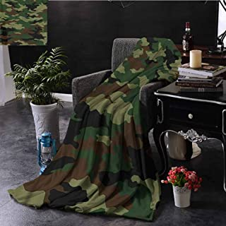 EDZEL Travel Throwing Blanket Camo Uniform Inspired Fashion Throw Blanket for Couch 80x60 Inch