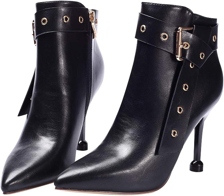 LBTSQ-Hochhackige Spitzen Stiefeln Gürtelschnallen Ritter Stiefel 9Cm Reiverschlüsse Stiletto-Stiefel Mode-Jacken High Heels Damenschuhe