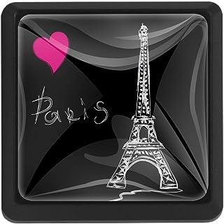 Love Paris - Tiradores de cristal para cajones de armario con tornillos para el pecho papelera aparador armario 3 uni...