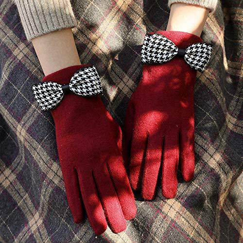 Eastbak Guantes De Pantalla Táctil Invierno Caliente Guantes Touchscreen Gloves Deporte Al Aire Libre,Linda Mariposa-Vino Tinto