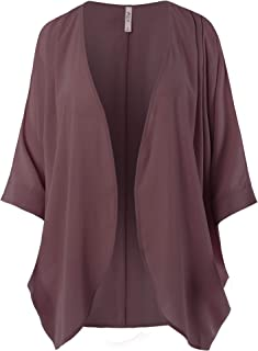 A2Y Women's Loose Fit Lightweight Open Front Woven Chiffon Cardigan