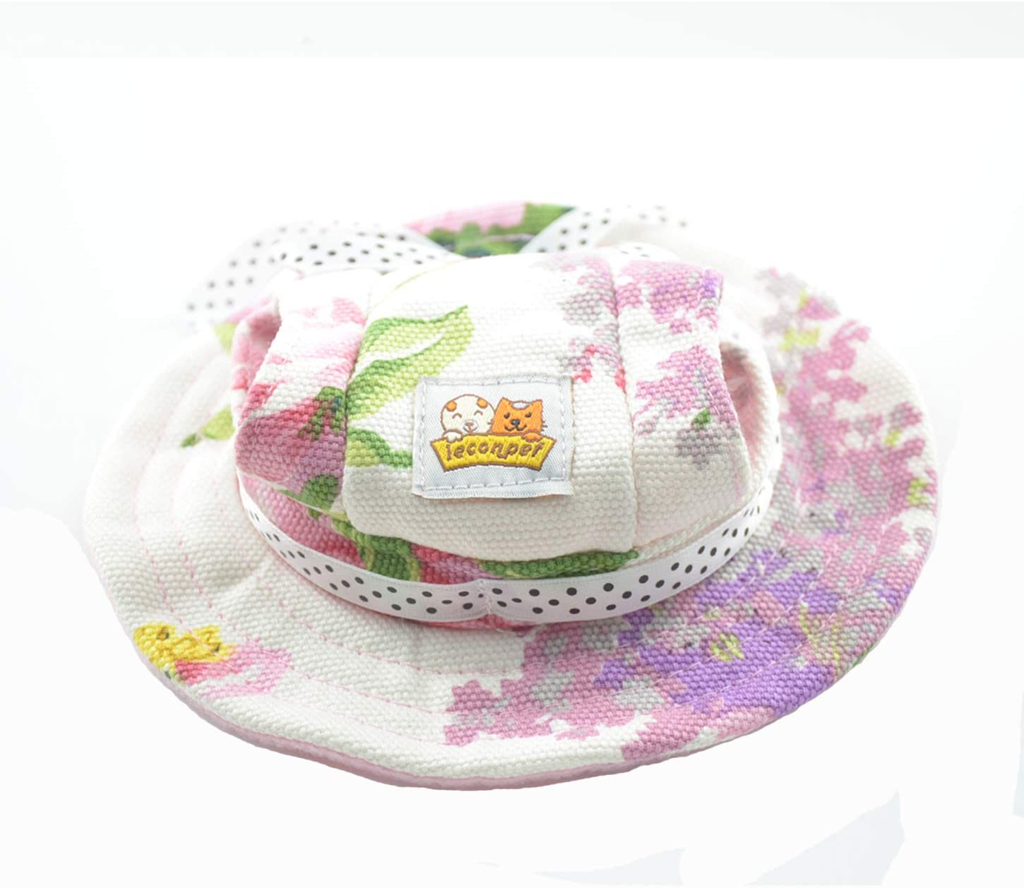 leconpet Princess Pet Hat Dog Caps Hats with Neck Strap Adjustable Comfortable Ear Holes for Small Medium Dogs in Outdoor Sun Protection Small, Colour Flower