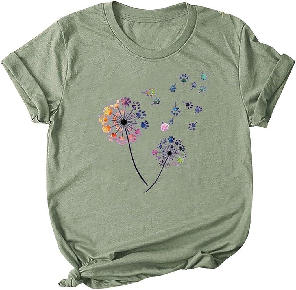 Womens T Shirts Short Sleeve Flower Graphic Summer Dandelion Pattern Print Crewneck Tee Tops Shirts Blouse Plus Size